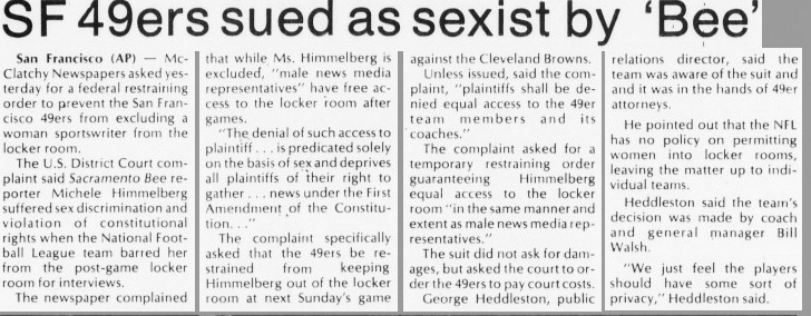 Michele Himmelberg sues the San Francisco 49ers for locker room access, 1981