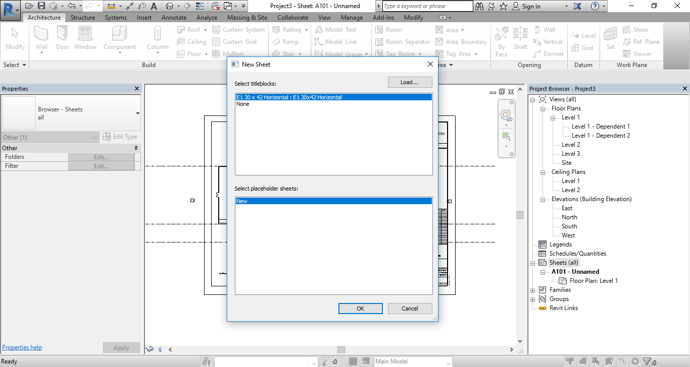 Add New Titleblock sheet to set up two sheets to place your views.