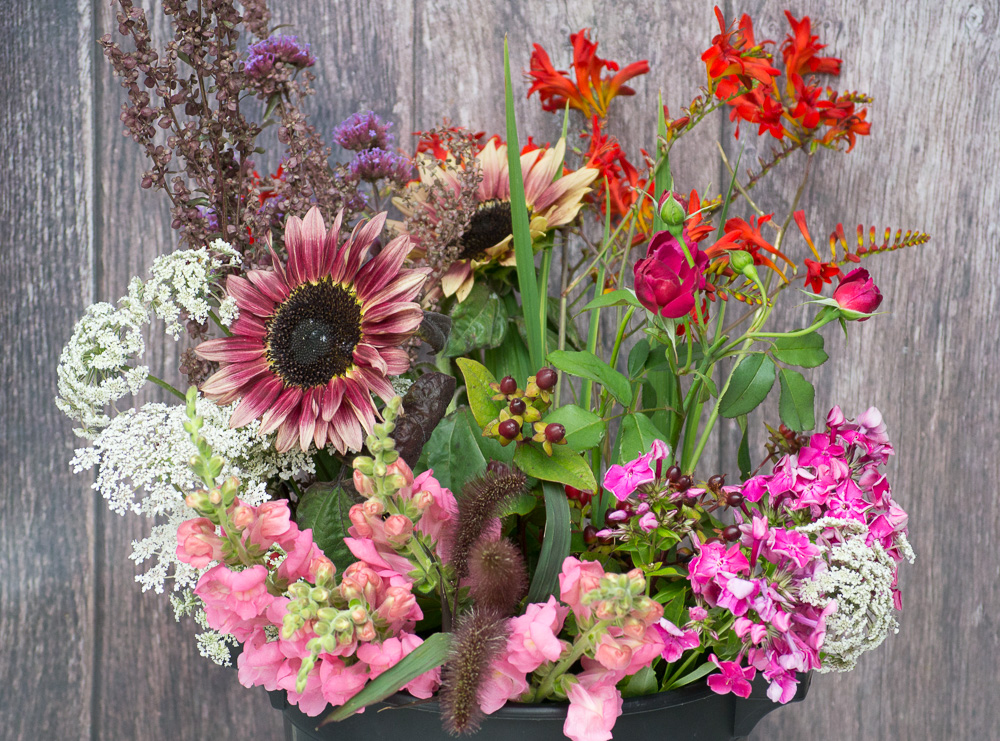 High summer subscription bucket. A mix of shapes and types of flowers but to a colour theme