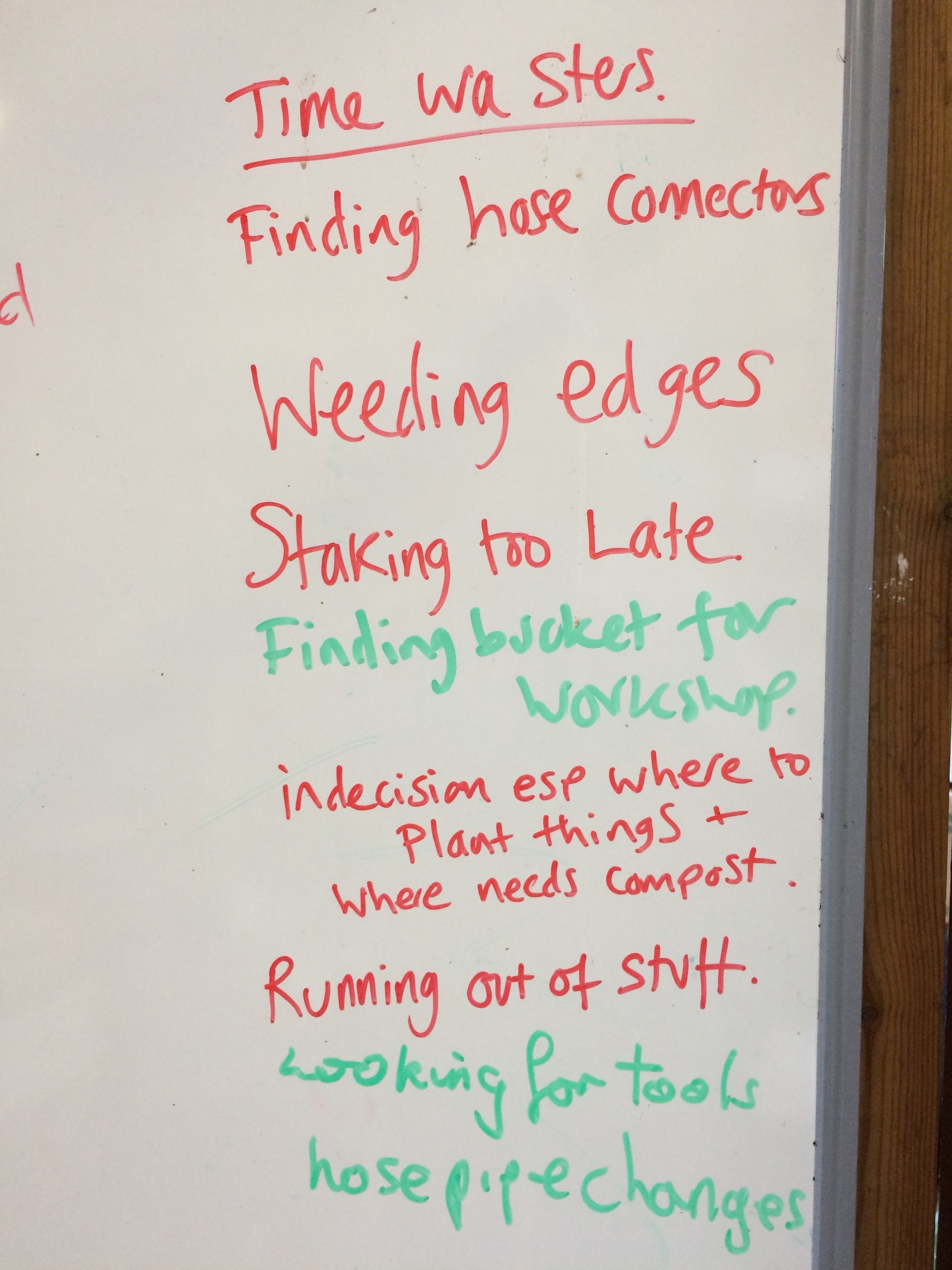 Our Time Wasters list on a whiteboard in the shed….