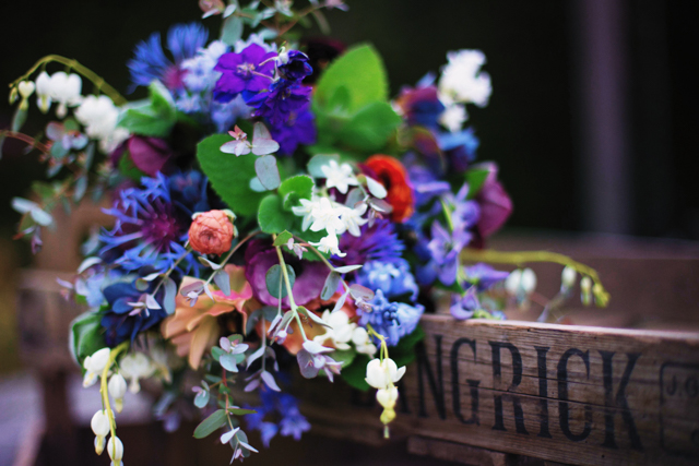 Late May bouquet, with mostly perennials, - Delphinium, Centaurea, Geum and Dicentra (plus ranunculus, bluebells and mint)