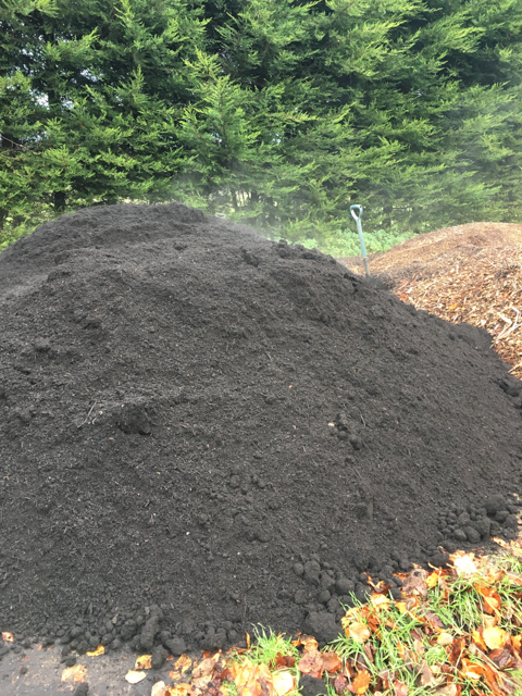 Freshly delivered Council Green Waste ready for spreading as a mulch