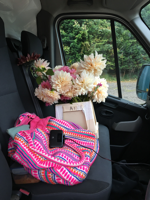 Florist's van with front seat Dahlias