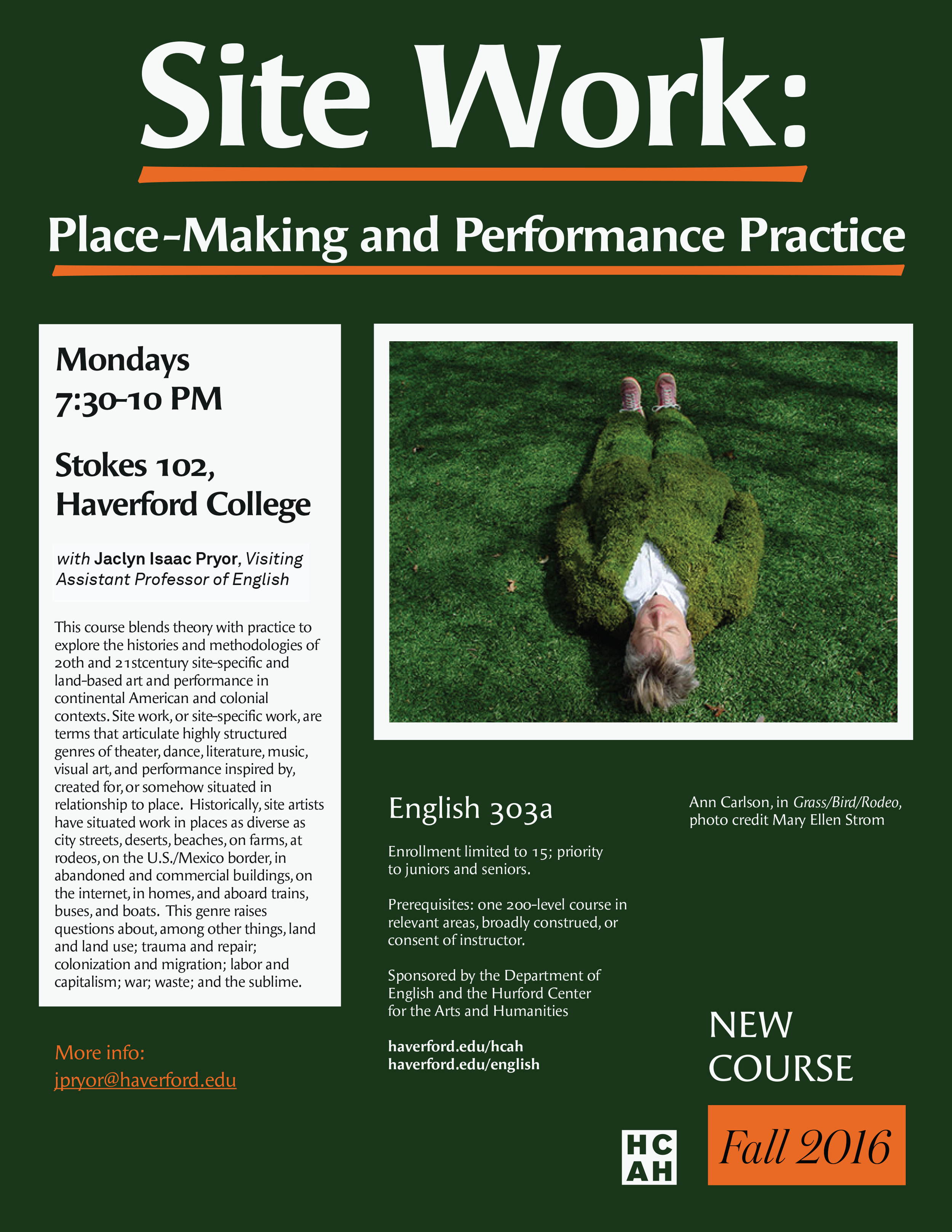 Course flyer, Site Work: Place-making and Performance Practice, Haverford College, Fall 2016.