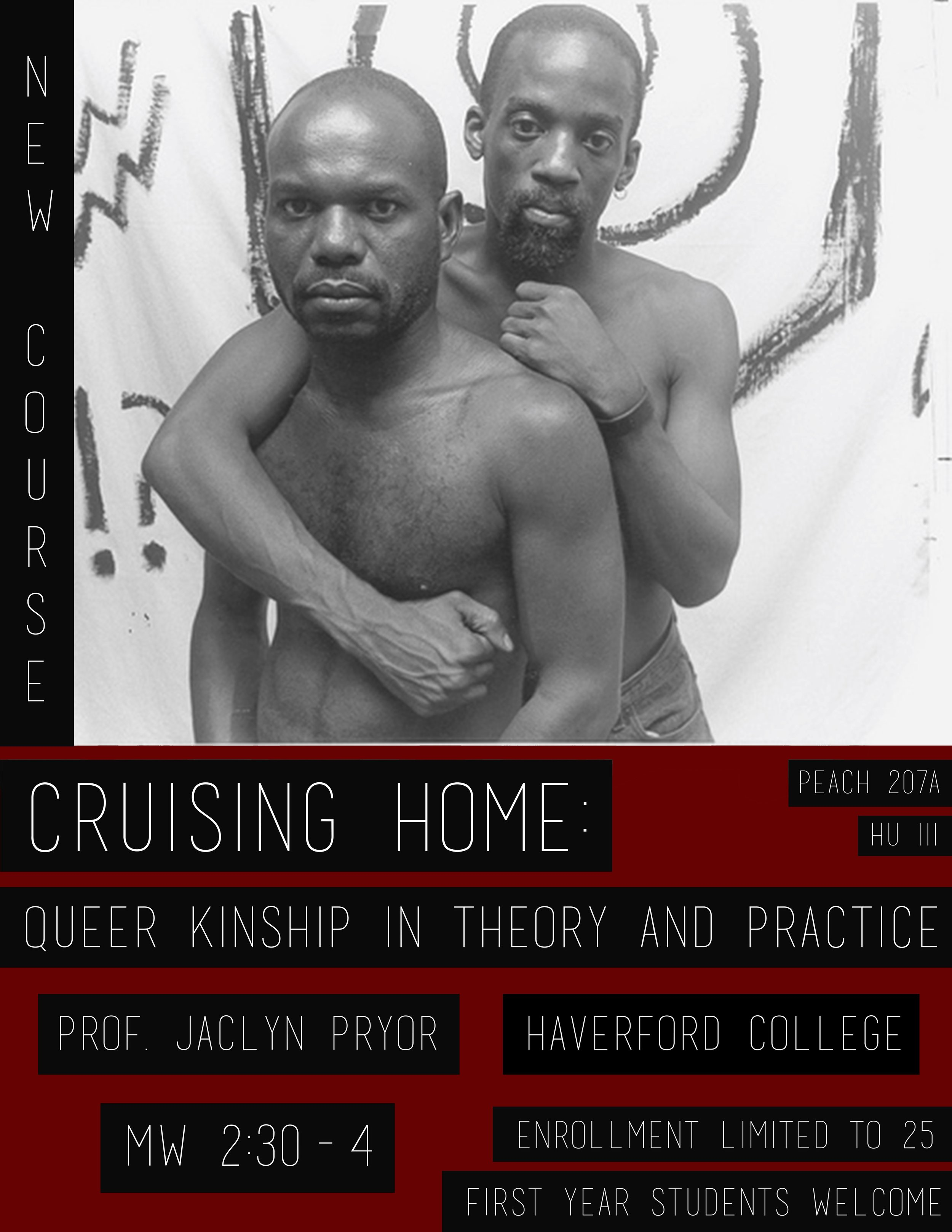 Course flyer, Cruising Home: Queer Kinship in Theory and Practice, Haverford College, Fall 2014.