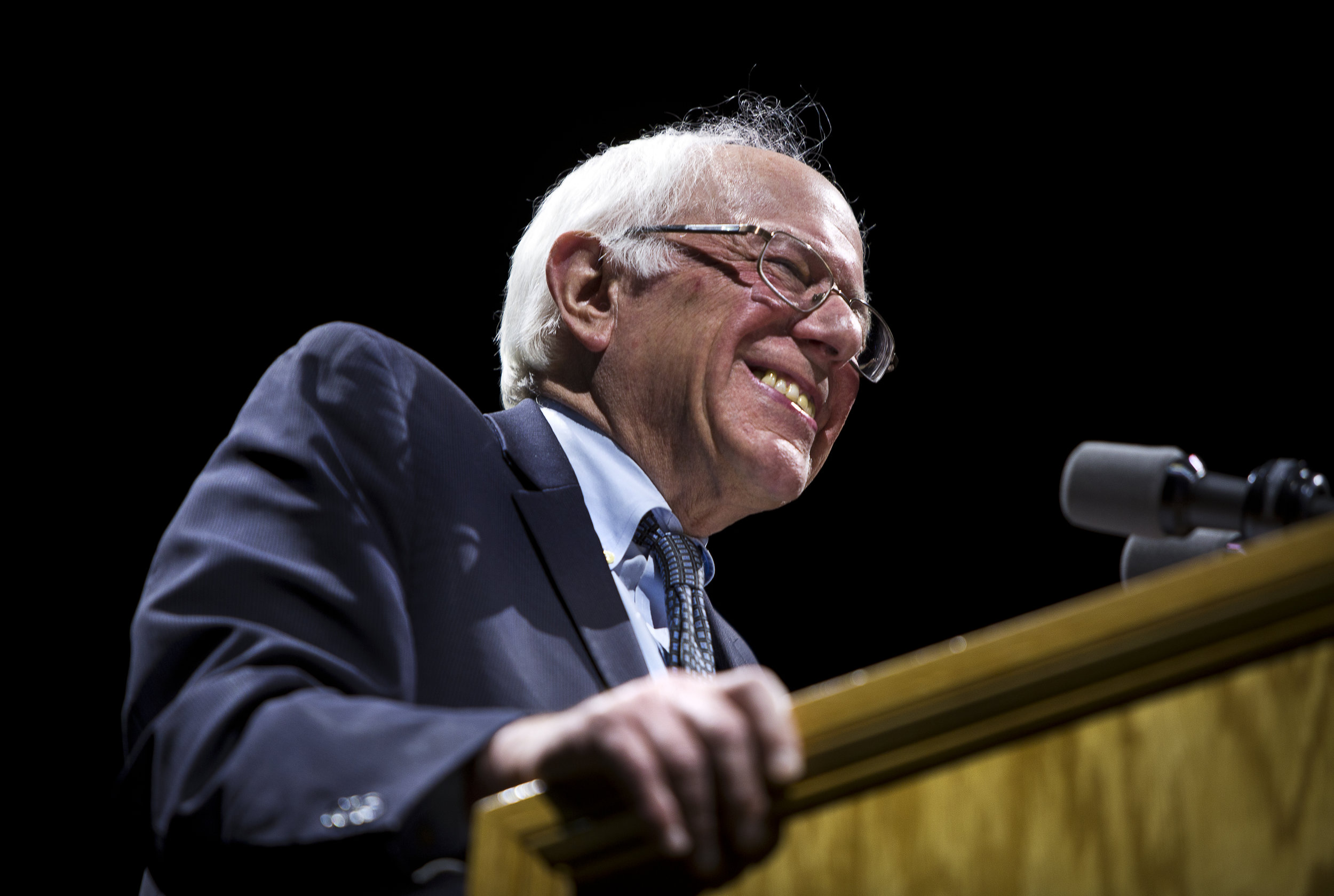 "U.S. Democratic Presidential candidate Senator Bernie Sanders (I-Vt.) smiles during the ""Future to Believe In"" Rally at the Kohl Center in Madison, Wisconsin April 3, 2016."