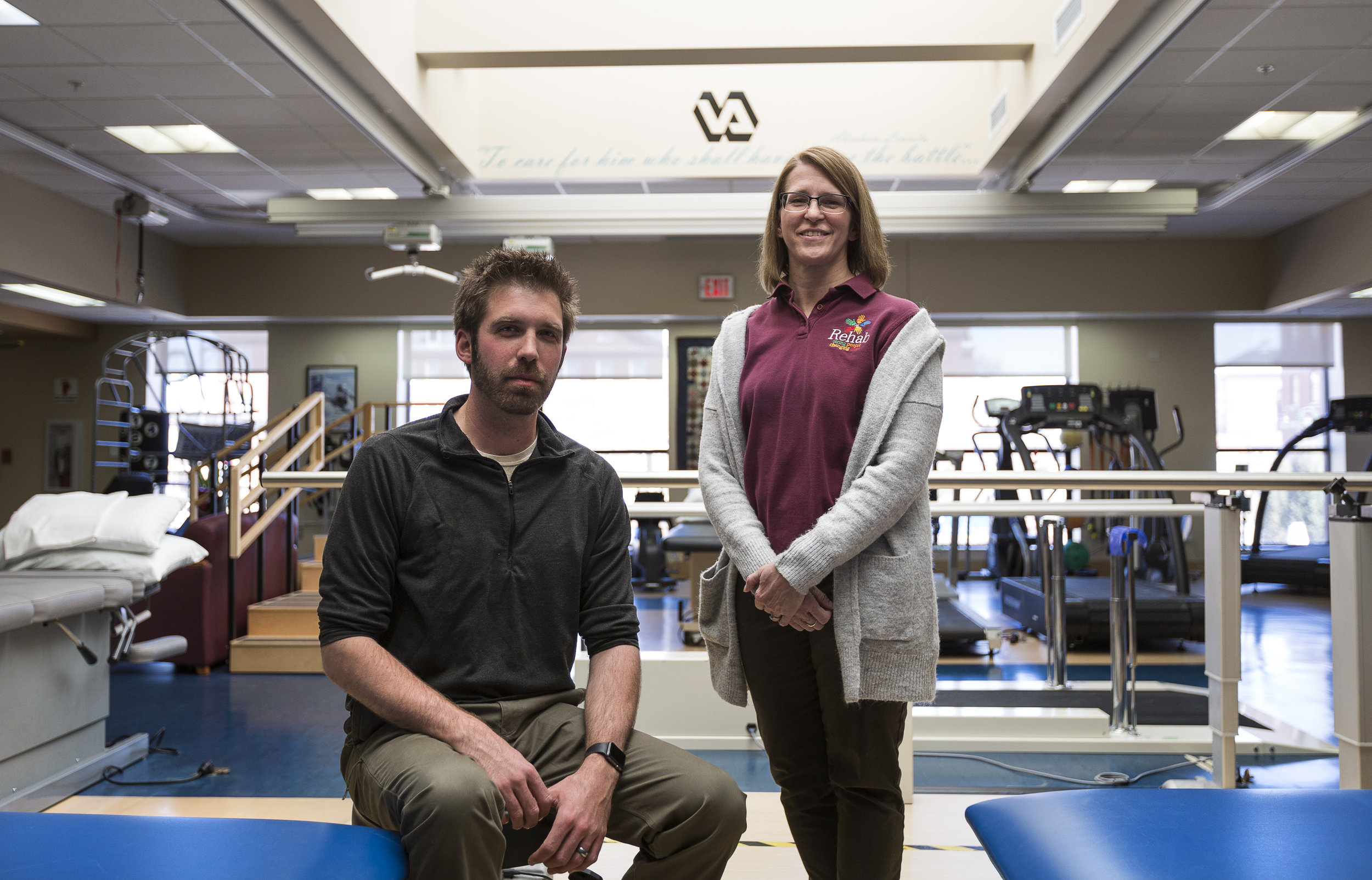 Dr. Bradley Schaack, DPT and Dr. Kristin Eneberg-Bolden, DPT pose for a portrait inside the Physical Therapy wing of the Tomah VA Facility in Tomah, Wisconsin, Monday, April 23, 2018.