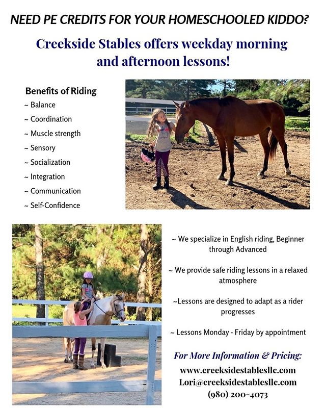 Creekside Stables offers weekday morning and afternoon lessons for homeschooled kiddos needing PE Credit!   Why not try exercise the kids will actually get excited about?!   How many other kids out there can say their gym class consisted of horses and a donkey?!   🐴🥕🐴🍎