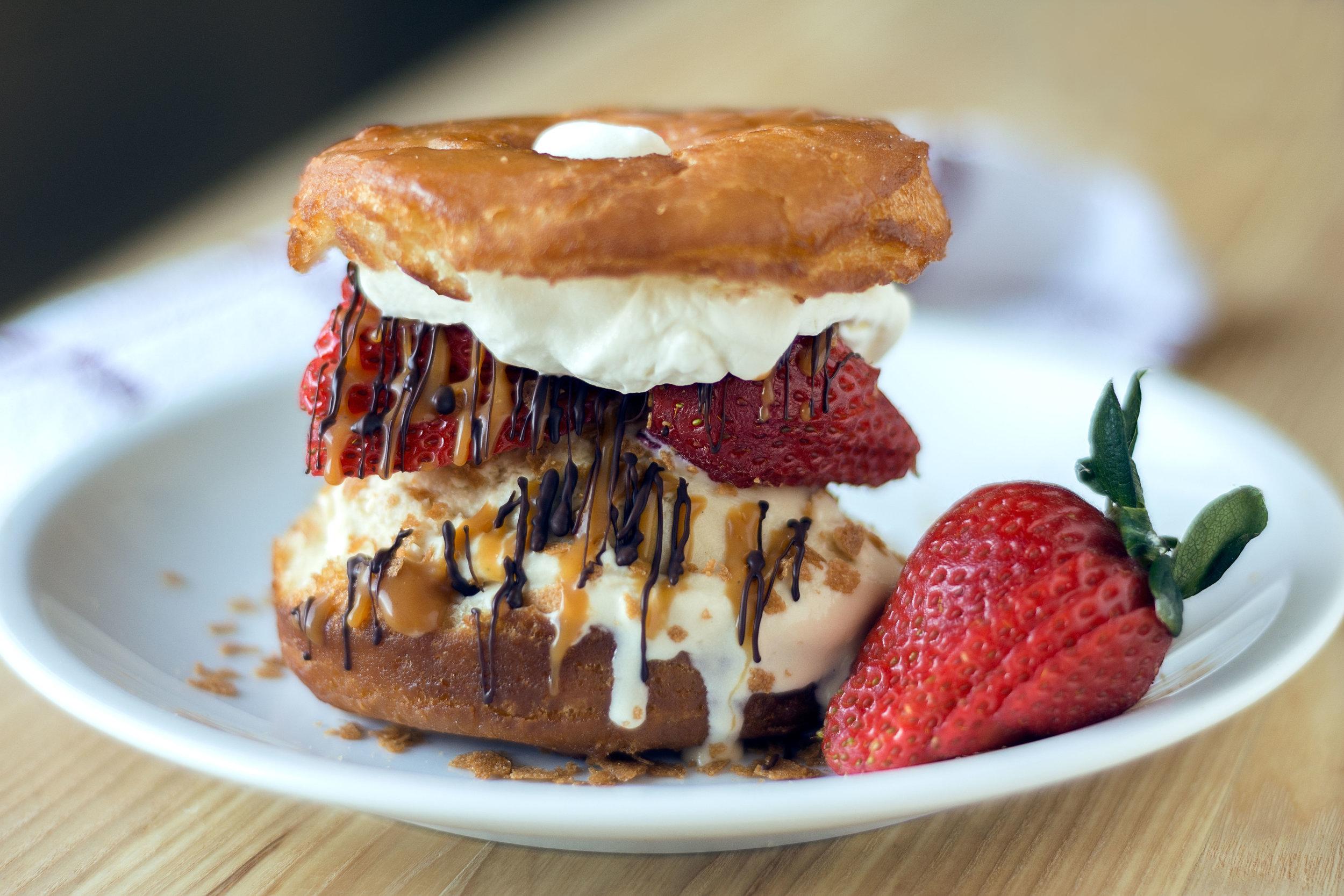 Donut ice cream sandwich
