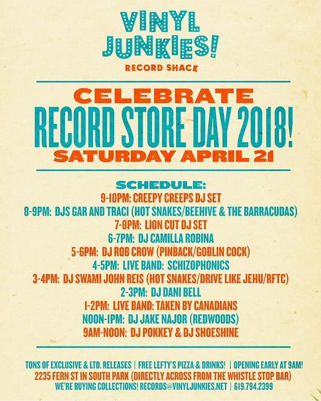 We are so excited to announce that we'll be playing @wearevinyljunkies this Saturday for #recordstoreday2018. We play from 1-2. See you this weekend San Diego! #rsd #rsd2018