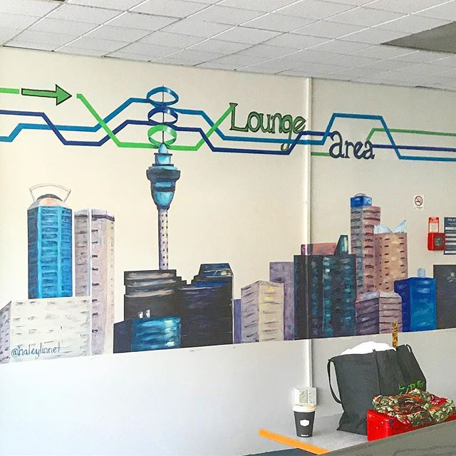 Auckland skyline almost finished for YHA hostel! #mural #muralartist