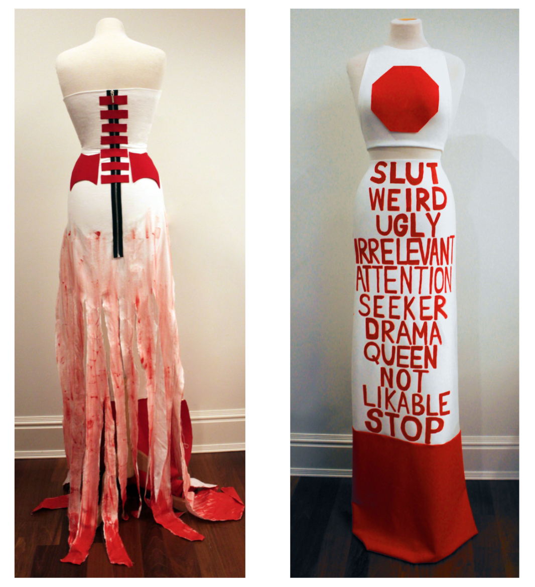 Pieces Created - These are two pieces from the collection that I proceeded to construct with bedsheets, fabric, and paint