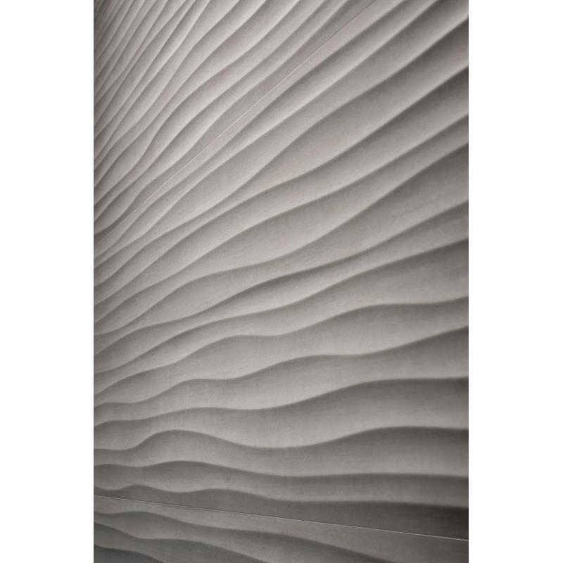 Matrika Grigio Wave - Accent wall tile for waiting room and coffee bar.