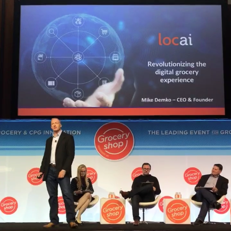 loc ai CEO Mike Demko mid presentation at the Groceryshop Start-Up Pitch Contest
