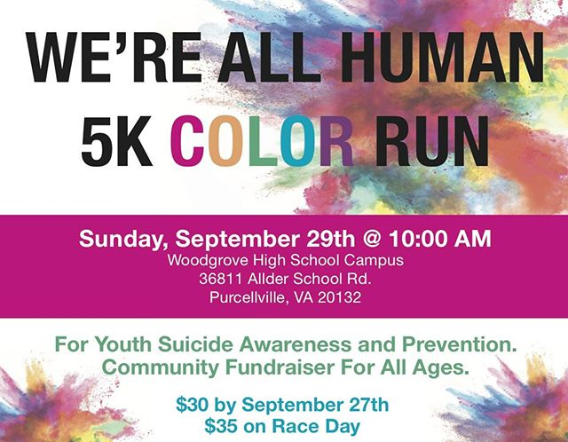 It is that time again for the The Ryan Bartel Foundation We're All Human 5K Color Run!  Registration can be found here: https://runsignup.com/race/va/purcellville/wereallhuman5krun