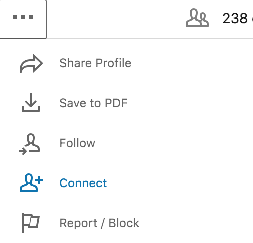 Once you land on a person's profile, click the 3 dots under their name and then Connect.