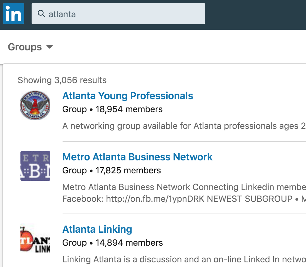 Once in the Group tab, you can also search by location or other keywords.  Upon joining groups, you'll find them housed under the Work tab on the upper right menu bar.