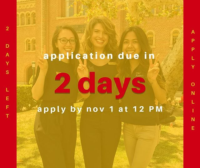Are you an Annenberg major? You probably got an email with the link to apply earlier today but here's one more reminder - The Annenberg Ambassadors application is due TOMORROW at noon! Don't forget to work on it tonight!! Happy Halloween 🎃 -Annenberg Ambassadors