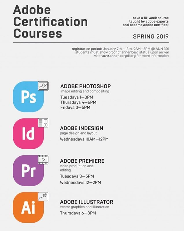 The Annenberg Digital Lounge released their schedule of Adobe certification classes you can take next semester! Check out our insta story for how to sign up in the spring 👀