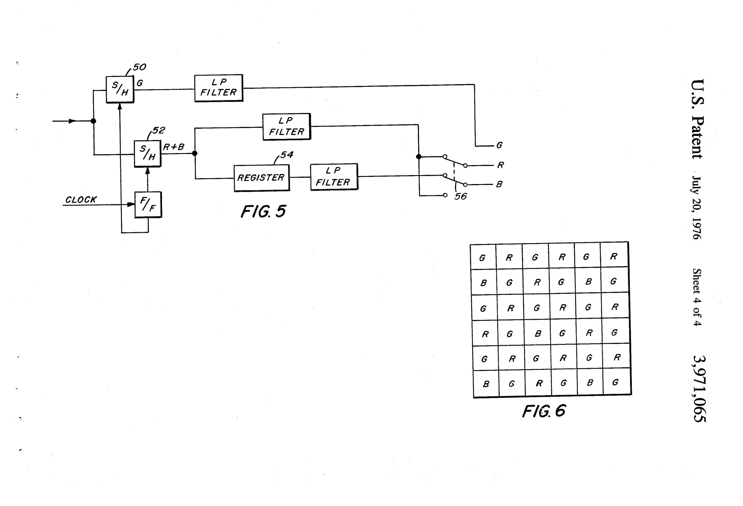 Diagram from Bruce Bayer's 1976 Patent (US3971065), showing the Bayer Filter Array (Fig. 6)