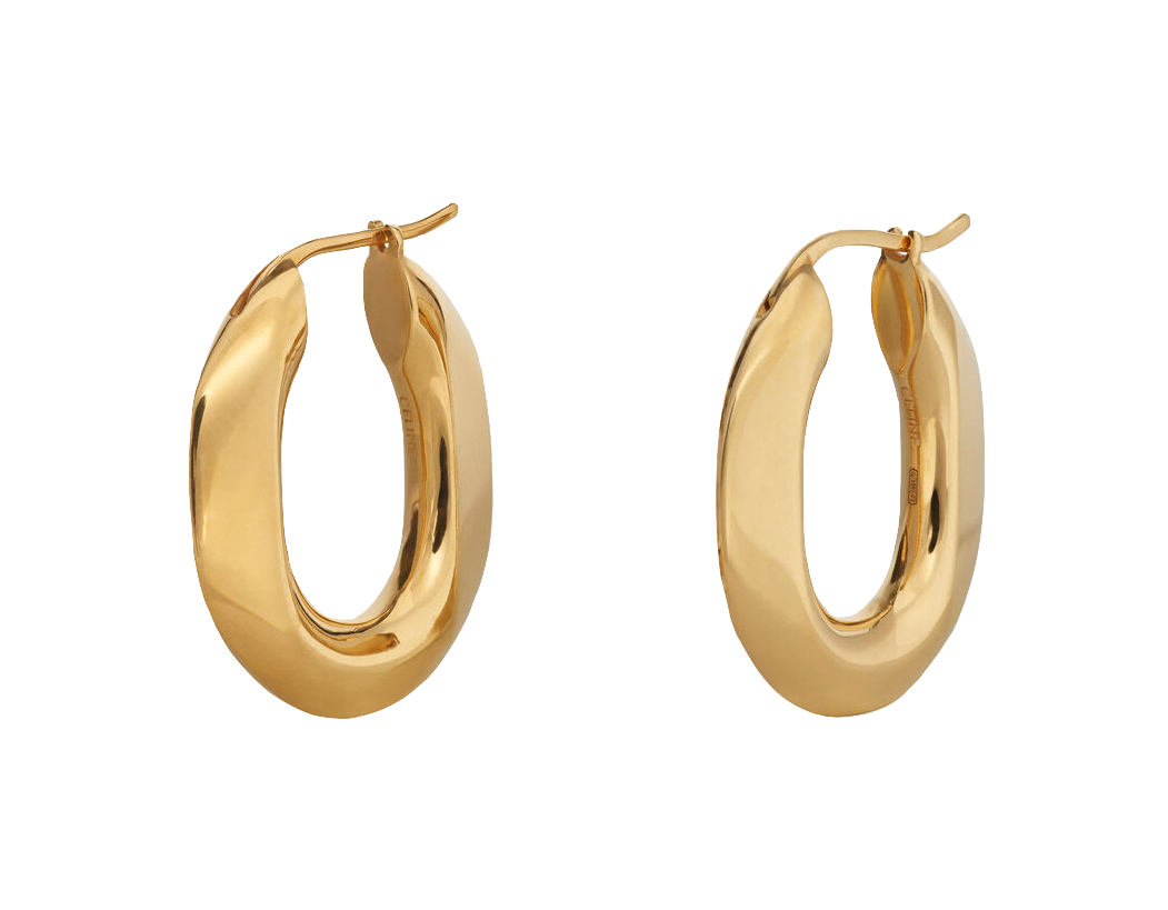 CELINE Chaîne Triomphe Earrings in Vermeil