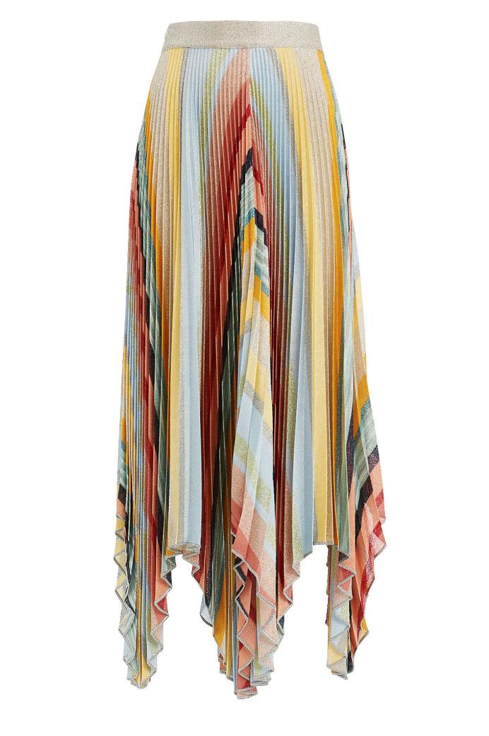MISSONI  Lurex Asymmetrical Hem Skirt