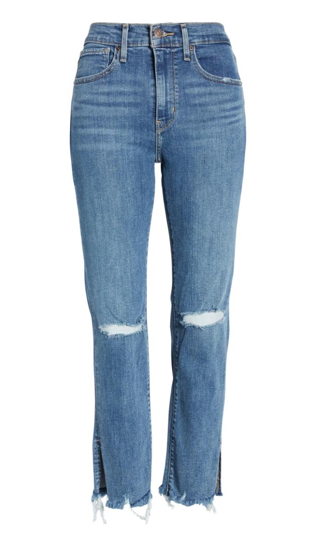 LEVI'S  724™ Ripped High Waist Raw Edge Crop Jeans