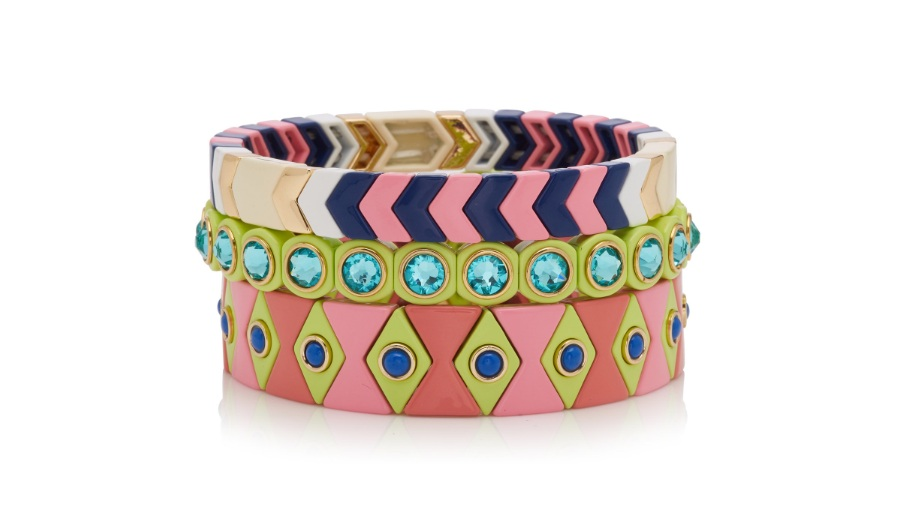 ROXANNE ASSOULIN  Palm Beach Set-Of-Three Enamel Bracelets