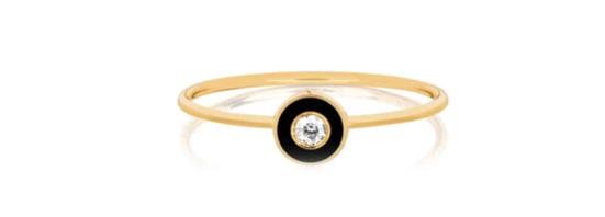 EF COLLECTION  Diamond & Black Enamel Bezel Stack Ring