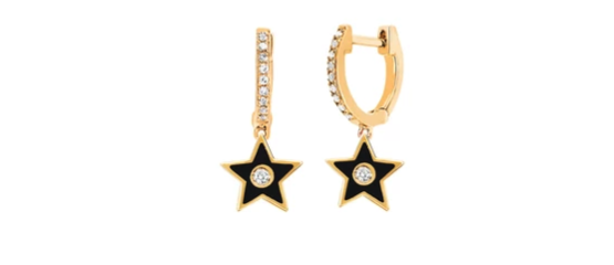 EF COLLECTION  Diamond Huggie with Black Enamel Star Drop Earrings