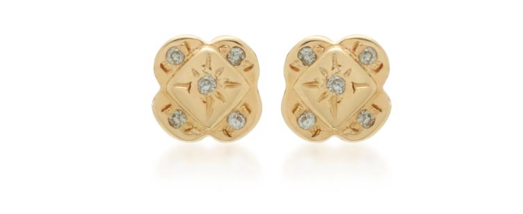 SCOSHA  Endless Knot 10K Gold And Diamond Earrings