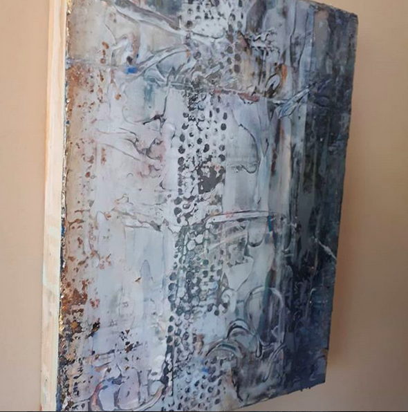 "'Walking Walking on the Moon' 9 x 12 x 1.5 "" mixed media on wood panel (c) Deb Chaney 2018"