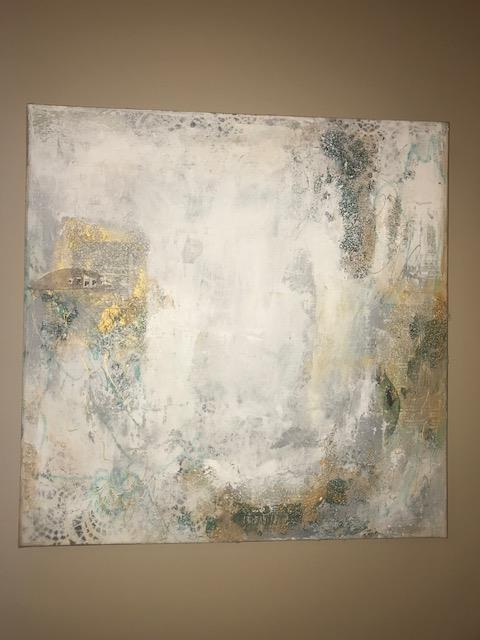 'Happy' 24 x 24 x 1.5 Mixed Media on Canvas (C) Deb Chaney 2018