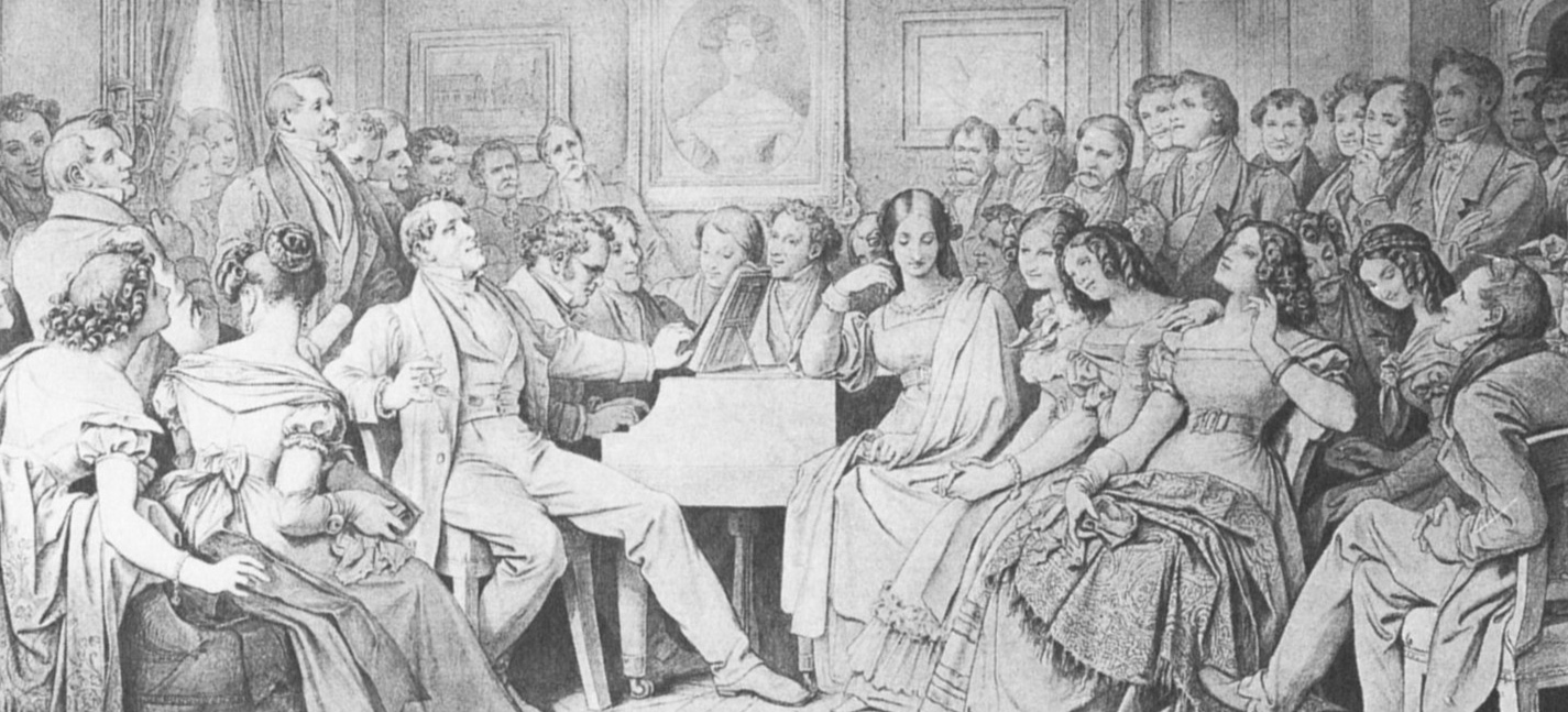 Moritz von Schwind's drawing of a Schubertiade: Schubert and his compatriots