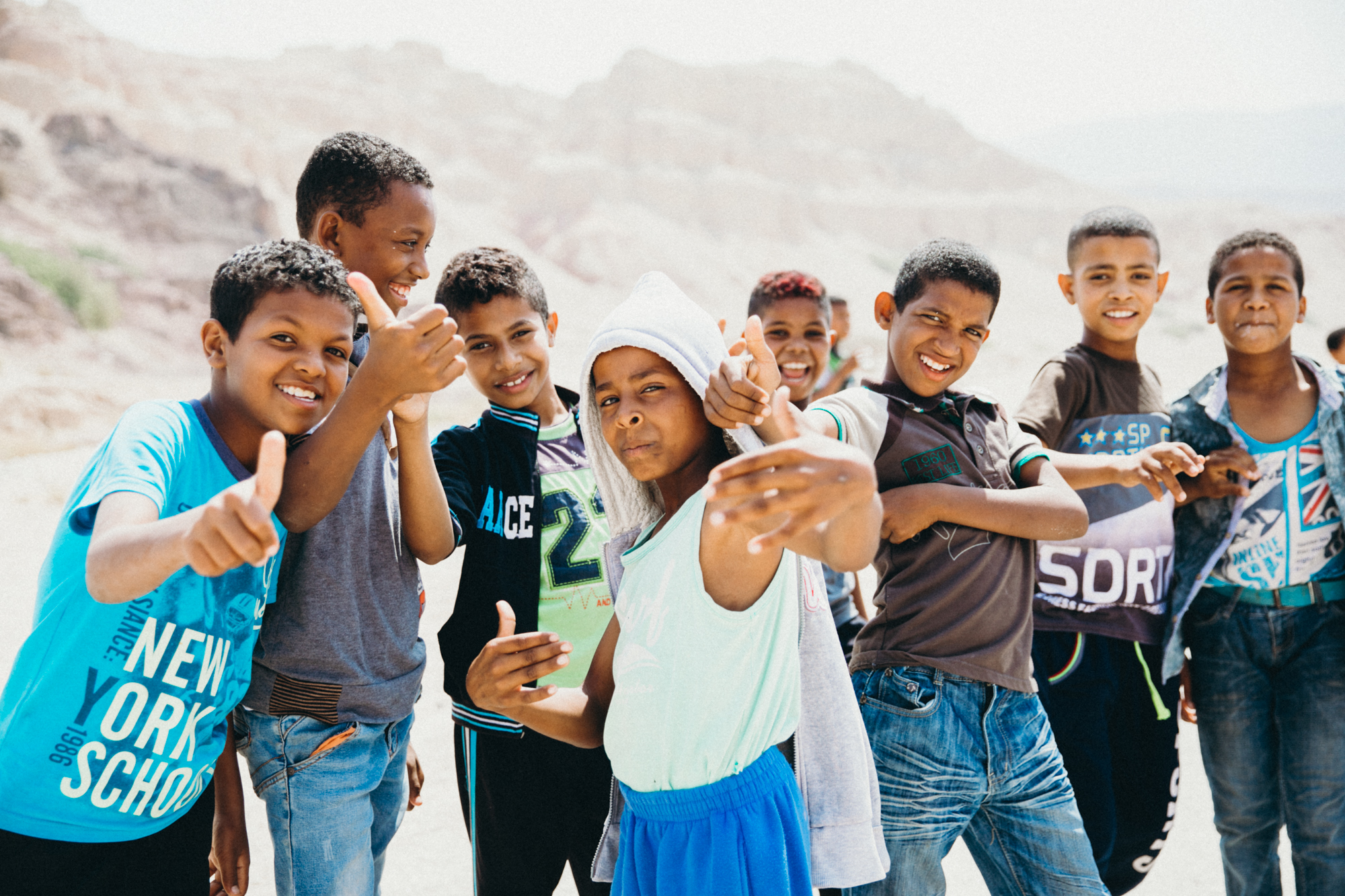We started out day 1 hiking Wadi Al Hasa! A gorgeous canyon that runs perpendicular to the Dead Sea. Before we started hiking these kids came up and wanted to play.