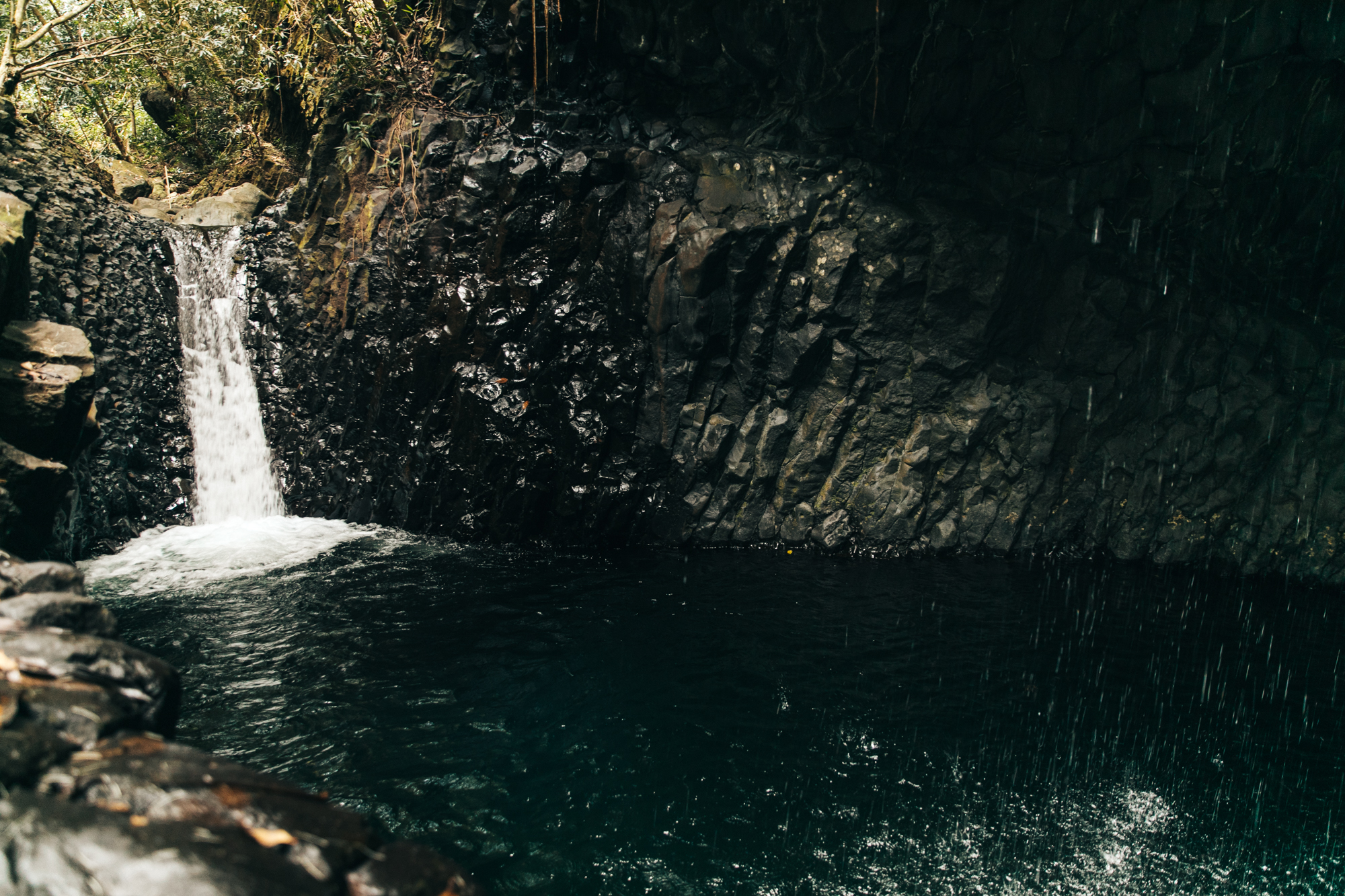 That waterfall is in fact a water slide.. there was two of them!