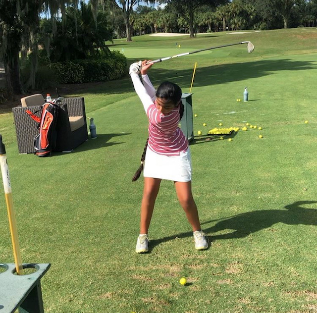 """Meyher Khokhar - Meyher joined the Junior Elite Team in the Summer of 2019 and started playing golf  at the age of 7.   Now 11 years old,  she has been playing on the US Kids Golf Tournament and placing between 3rd and 5th place.    Meyher said that she loves learning from Coach O""""Neill because he is fun and easy to learn from.     Welcome to the Team!"""