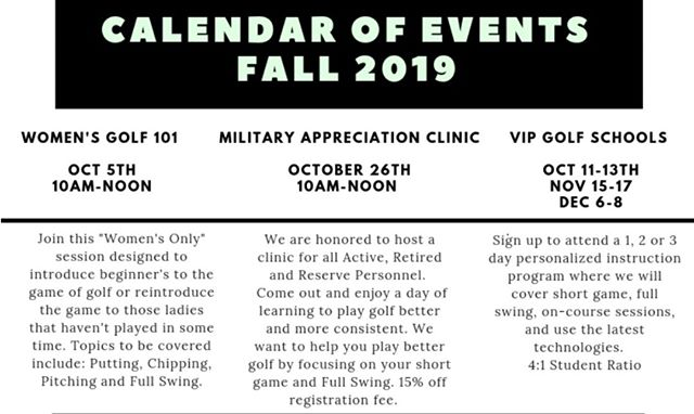Don't miss out on our Events this Fall at the Academy!  We are excited to offer you our VIP GOLF SCHOOLS each month (and with the Holidays quickly approaching, this would make a great gift). REGISTER with us now:  info@nicklausacademyorlando.com