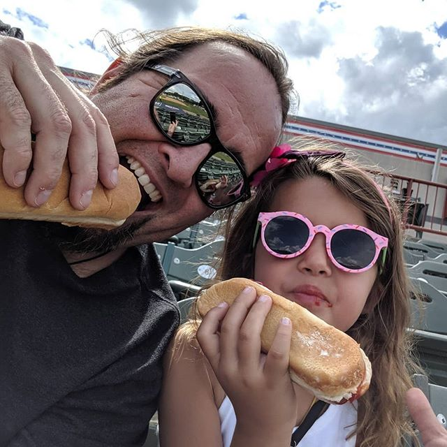 "Just a Dad and his girl on $1 Hot Dog night at ""The Joe"" while Mom is in Florida getting her learn on. Let's go Valleycats!  #enjoytroy #valleycats #troyny #thejoe #hotdogs"