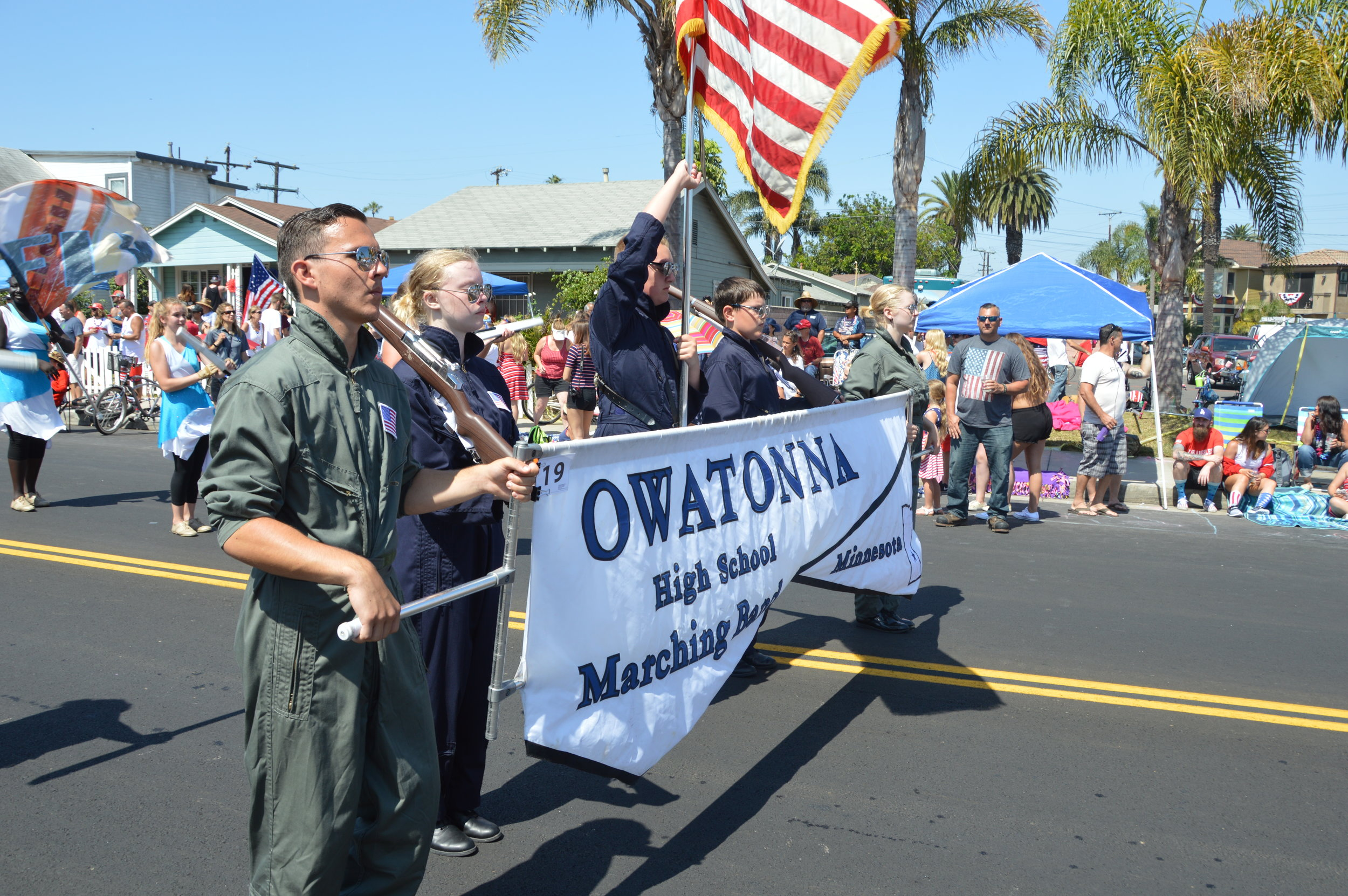 The Owatonna Marching Band at the 4th of July Parade in Long Beach, California