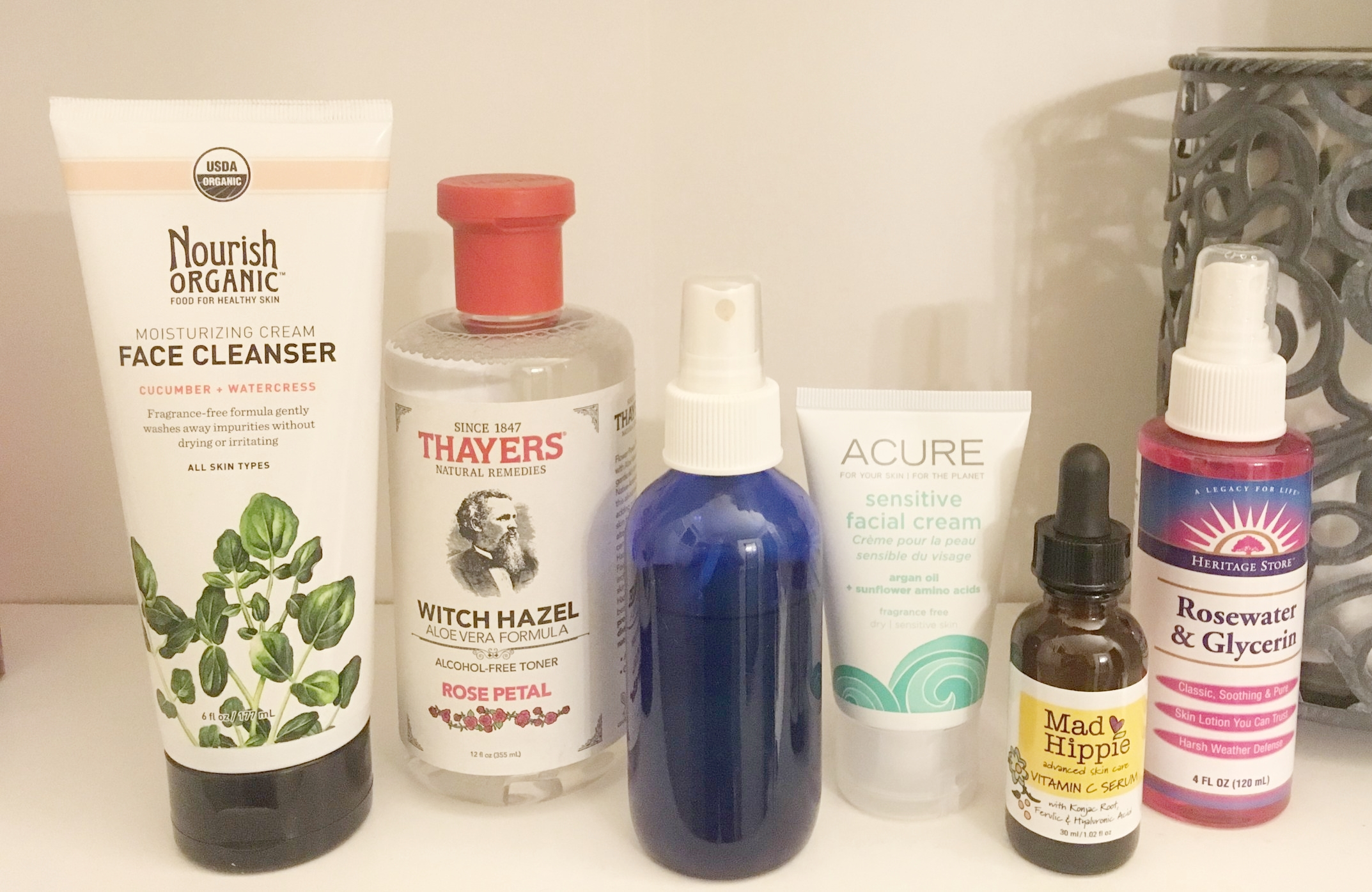 My actual products in my bathroom cabinet at home.