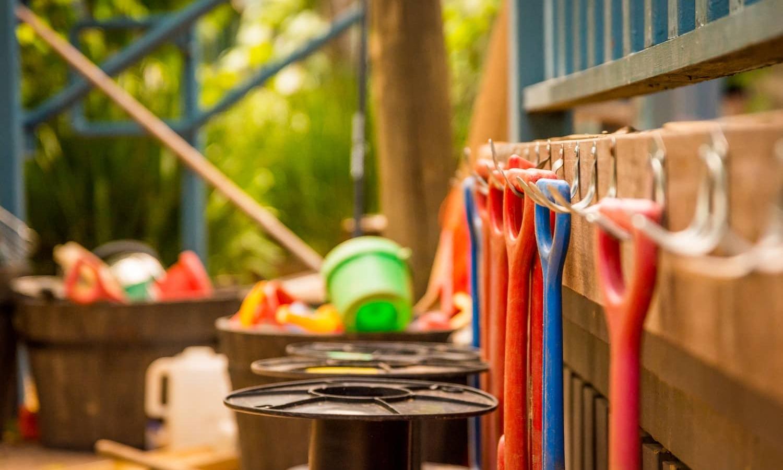 Chiselhurst Kindy sandpit tools all hanging up