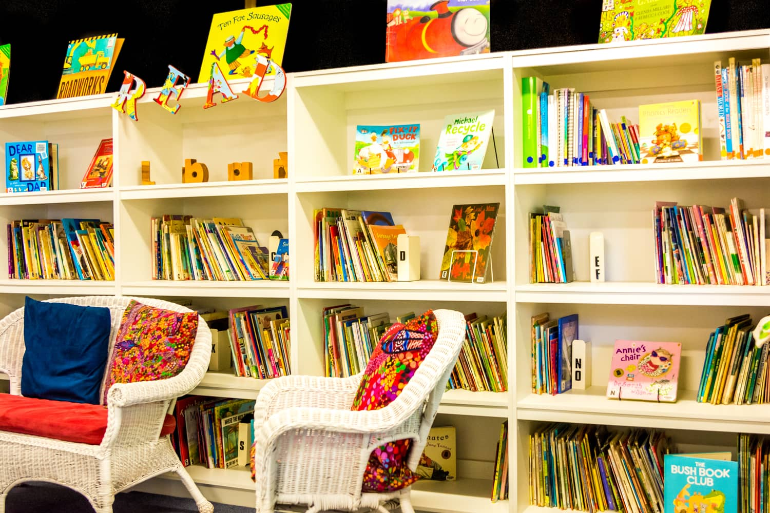 The chiselhurst library with a wonderful wall of books for learning and fun