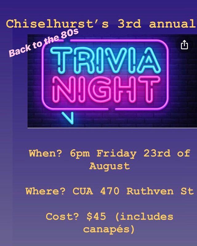 Join us for Chiselhurst's third annual trivia night, 6-10pm Friday 23rd of August. Friends of Chiselhurst welcome. RSVP in foyer or email admin@chiselhurst.com.au