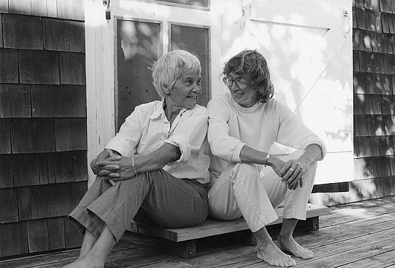 Photo of Mary Oliver (right) with her partner Mollie Malone Cook (left)