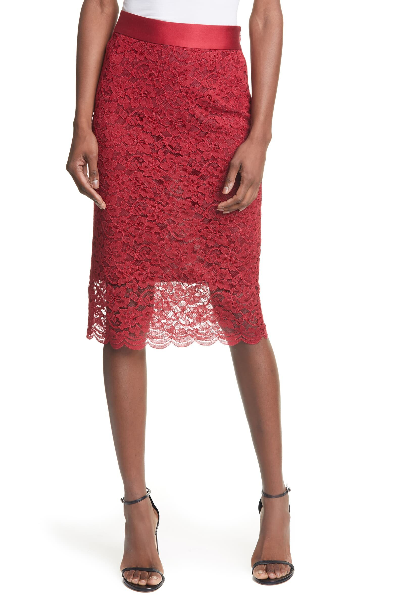 Nordstrom Red Lace Pencil Skirt