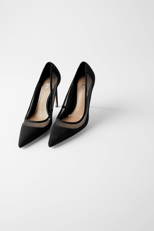 Zara Black Mesh Heel