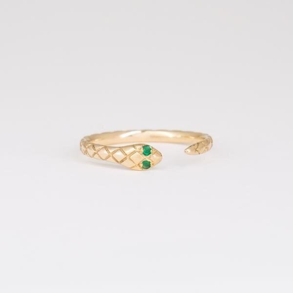Bluboho Revival Ring - Emerald and Yellow Gold