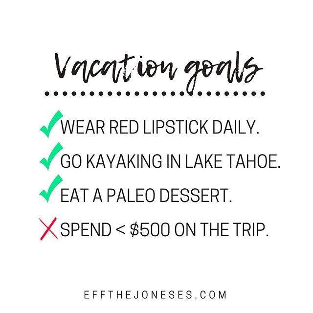If you were following my stories, you saw my amazing, last-minute getaway to Reno. . Because, why not Reno? . 💋Since the trip was last-minute (yay adventure), I didn't have many expectations. . Eat a #paleodessert , wear red lipstick, go kayaking , spend less than $500 when we get there. . Well, life, joy, and all of the good food happened. So, $500 a month didn't! . It was well worth it to spend a long weekend away with great company! . So, No worries! I'm going to create a plan in the next three months to (1) save for @finconexpo , (2) replenish my travel savings account and (3) save for a mid fall  adventure! Check back next week to see how I plan to get my financial shit (back) together! . . . #ficommunity #firecommunity #debtfreecommunity #financeblogger #travelhacks #travelhacking #travelhacker #digitalnomadlife #digitalnomadgirls #remotework #remoteworking #workremotely #workingremotely #laptoplifestyle #laptoplifestyleliving #financialfreedom #financialindependence #laketahoe #northlaketahoe #workfromanywhere #workfromanywheremom #nomore9to5 #renonevada #travelblogging #financialindependenceretireearly #travelbudget #mybudgettravel #budgeting