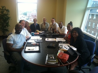 Organizational Meeting on August 10, 2012 marking the transition of the Founding Board into the Governing Board of Purpose Prep: Rosevelt Noble, Perry Gooch, Wanda Young Wilson, Cyndi McKenzie, Kathy Tompkins, Ryan McCostlin, Harry Allen, Lagra Newman, and Rita Mitchell (not pictured: Carrie Cragwall).